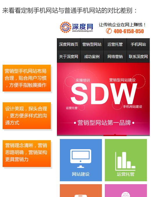 定制型营销型手机网站与传统手机网站对比优势