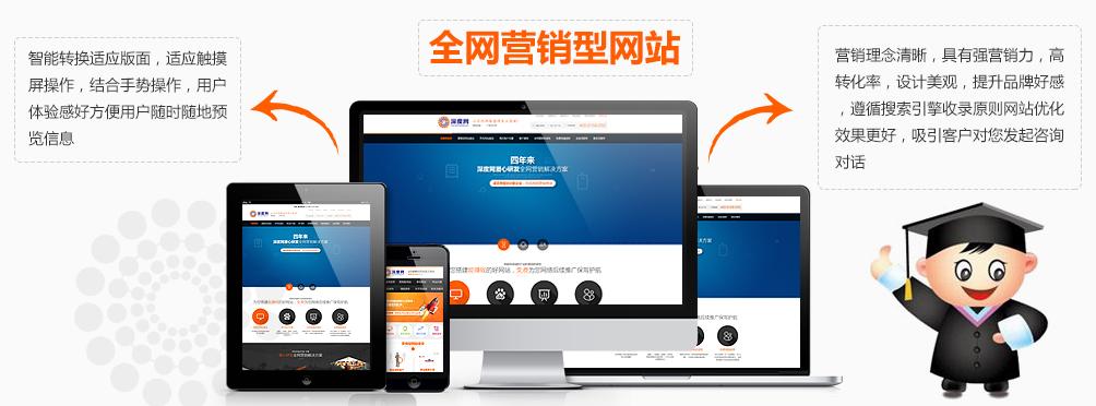 全网营销型网站能用户体验感好方便用户随时随地的预览信息
